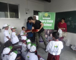 """Actor Taaha Shah, who will soon be seen as the lead in Anupam Kher's """"Ranchi Diaries"""", spent some quality time with children at NGO Smile Foundation's centre in Dharavi here. He spoke about the importance of education and overall personality development. Taaha also taught them a few dance steps and emphasised on the need for self-defence when he met the children on Friday. """"We had an absolute blast as I love kids and gel along very well with them. It was a fun afternoon and I showed them some dance moves and played a guitar as well."""