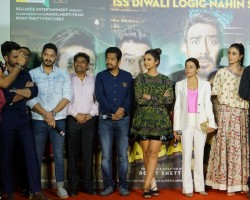 "Actors Ajay Devgan, Parineeti Chopra, Johnny Lever, Arshad Warsi, Tusshar Kapoor, Kunal Khemu, Johnny Lever, Shreyas Talpade and Director Rohit Shetty during the trailer launch of their upcoming film ""Golmaal Again""."