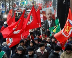 Demonstrators take part in a rally held by Russian Communist party to mark the Red October revolution's centenary in central Moscow, Russia November 7, 2017.