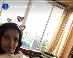 """Supermodel, TV host, cookbook author and socialite Padma Lakshmi shared an image of herself, in which she is seen flaunting her stretch marks. The """"Top Chef"""" host, 47, shared a revealing photograph of herself on Instagram on Thursday, reports people.com. In the image, Padma Lakshmi is reclining on her bed in a sheer white turtleneck sweater, and shows her stretch marks on her leg. """"Hey stretch,"""" she wrote on the image."""