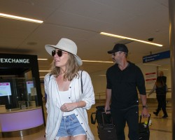 LeAnn Rimes and Eddie Cibrian are seen at Los Angeles International Airport on January 12, 2018 in Los Angeles, California.