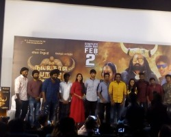 Tamil movie Oru Nalla Naal Paathu Solren press meet held in Chennai. Celebs like Vijay Sethupathi, Gautham Karthik and Gayathrie graced the event.