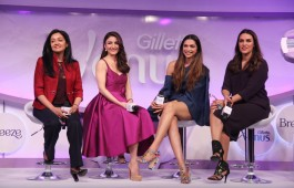 Bollywood actors Deepika Padukone, Neha Sharma & Soha Ali Khan at Gillette Venus launch in Mumbai on February 23, 2017.