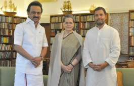 """A day after DMK leader M.K. Stalin met President Pranab Mukherjee and submitted a memorandum on the events that took place in Tamil Nadu assembly last week, he met Congress President Sonia Gandhi on Friday and discussed the political situation in the state. """"It was a courtesy call. He enquired about her (Sonia Gandhi) health and she enquired about party supremo Karunanidhi's health condition. It was a formal discussion. They also discussed political situation in Tamil Nadu,"""" said a DMK leader, adding that the meeting lasted 25 minutes."""