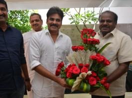 Karnataka ex CM H. D. Kumaraswamy invites power star Pawan Kalyan for his son's Jaguar Audio launch.