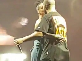 Rapper Drake and singer Rihanna confirmed their romance by kissing on stage during a performance here.