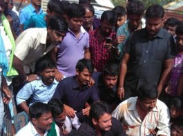 South Indian Actor Darshan protest against Cauvery river waters to Tamil Nadu in Mandya.