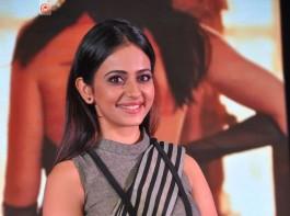 South Indian actress Rakul Preet Singh at Abhinetri audio launch.