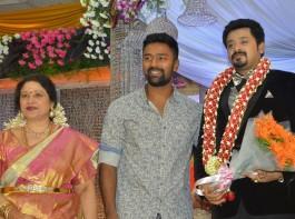Tamil Actress Jayachitra's son Amresh Ganesh and Keerthi Hanusha Wedding Reception held at Chennai. Celebs like Jyothika, Vishal, Nassar, Durga Stalin, J Mahendran, Lakshmi, Sivakumar, JK Ritheesh, Kutty Padmini, Radhika, Sarathkumar, Ponvannan, Rayanne Hardy, Rahul, Gangai Amaran, Sachu, and others graced the event.