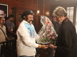 Veteran actor Nandamuri Balakrishna met Bollywood Mega Star Amitabh Bachchan on sets of Sarkar 3 movie, which is a sequel to Sarkar movie directed by Ram Gopal Varma.