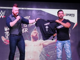 World Wrestling Entertainment (WWE) Wrestler Sheamus and Bollywood actor John Abraham during the promotion of upcoming film Force 2, in Mumbai, India on October 22, 2016.