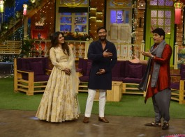 Photos of Bollywood Actors Ajay Devgan and Kajol during the promotion of film Shivaay on the sets of The Kapil Sharma Show, in Mumbai on Oct 22, 2016.