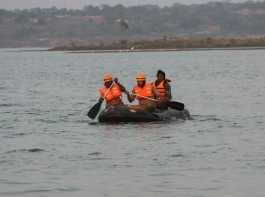 Rescue operations underway at TG Halli lake where two male actors Anil and Uday, aged 31 and 38 years drowned during the shooting of a Kannada movie while enacting a stunt scene by jumping from a helicopter on Nov 7, 2016.