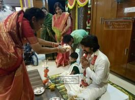 South Indian Actor Yash and actress Radhika Pandit's marriage celebration begins.
