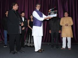 Actors Rucha Inamdar, Swapnil Joshi, Tiger Shroff, Amitabh Bachchan and Riyaz Gangj during the mahurat of Marathi film Bhikari in Mumbai, on Dec 7, 2016.