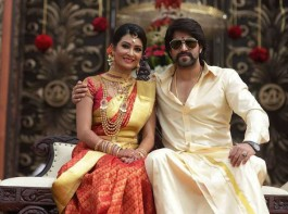 Photos of Actor Yash and Radhika Pandit wedding reception held in Bangalore.