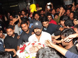 Photos of South Indian actor Ram Charan at Hyderabad airport.