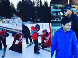 South Indian actor Mahesh Babu enjoys skiing with his family at Alpine Adventure.