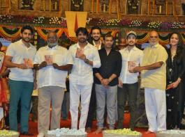 Akkineni Nagarjuna, Anushka Shetty, Naga Chaitanya at Om Namo Venkatesaya audio launch.