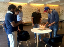 Photos of Bollywood actor Hrithik Roshan celebrates his birthday with Kaabil's team.