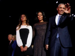 U.S. President Barack Obama is joined onstage by first lady Michelle Obama, Vice President Joe Biden and his wife Jill Biden, after his farewell address in Chicago, Illinois, U.S. January 10, 2017.