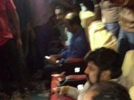 Actor Balakrishna, director Rajamouli watch Gautamiputra Satakarni benefit show with fans.