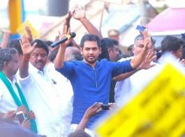 Music composer Hiphop Tamizha (Aadhi) at Jallikattu protest.