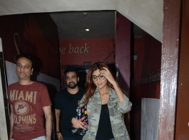 Photos of Bollywood actress Shilpa Shetty and Raj Kundra spotted at Juhu PVR in Mumabi.