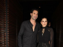 Bollywood actress Sunny Leone spotted with husband Daniel Weber at Estella Lounge in Juhu.