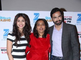 Television actor Shamata Anchan, filmmaker Rajshree Ojha and television actor Sameer Arora during the launch of Zee TV new show Bin Kuch Kahe in Mumbai on January 18, 2017.