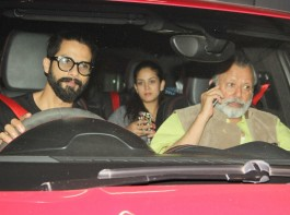 Bollywood actor Shahid Kapoor with family and others spotted at Sunny Super Sound for a special screening of Rangoon.