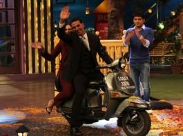 Bollywood actor Akshay Kumar and Huma Qureshi promote Jolly LLB 2 on the sets of The Kapil Sharma Show in Mumbai on January 31, 2017.