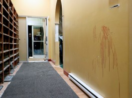 Bloodstains and bullet holes are pictured inside the Quebec Islamic Cultural Centre in Quebec City, January 31, 2017.