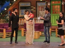 Bollywood actors Shahid Kapoor and Kangana Ranaut promote Rangoon on the sets of The Kapil Sharma Show in Mumbai on February 9, 2017.