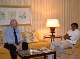 International political strategist Steve Jarding met Jana Sena chief Pawan Kalyan at Hyderabad.
