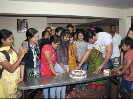 South Indian actor Darshan celebrates his 40th Birthday with his fans in Bangalore on Feb 16, 2016.