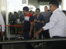 Bollywood actor Shah Rukh Khan spotted at airport.
