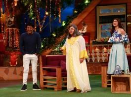 Bollywood actress Anushka Sharma promotes Phillauri on the sets of The Kapil Sharma Show in Mumbai on March 6, 2017.