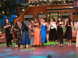 Bollywood actress Vidya Balan, Gauahar Khan and team Begum Jaan promote the film on The Kapil Sharma Show.