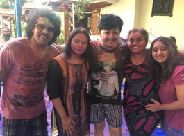 South Indian actor Upendra, Ganesh, Shilpaa Ganesh, Priyanka Upendra and Malavika Avinash celebrate Holi festival.