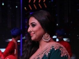 Bollywood actor Vidya Balan with singer Badshah and music composer Shekhar Ravjiani spotted on the sets of singing reality show Dil Hai Hindustani during the promotion of film Begum Jaan in Mumbai on March 14, 2017.