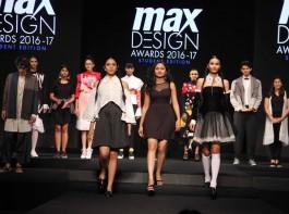 Fashion designers Nachiket Barve, Priyadarshini Rao, Varun Bahl, Vasanth Kumar, Executive Director, Max Fashion India and Fashion designer Kamakshi Kaul spotted during the grand finale of Max Design Awards 2016-17, in Mumbai on March 23, 2017.