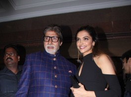 Bollywood actor Amitabh Bachchan and actress Deepika Padukone spotted during the HT Most Stylish Awards in Mumbai on March 24, 2017.