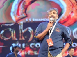 Director SS Rajamouli spotted at Baahubali 2 pre-release event.