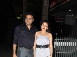 Bollywood actress Bhagyashree with her husband spotted at Bandra in Mumabi.