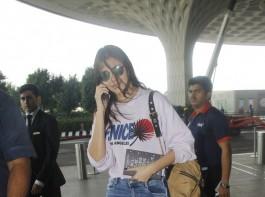 Bollywood actress Anushka Sharma spotted at Mumbai airport.