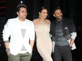 Bollywood director Mohit Suri, actor Sonakshi Sinha and Dancer Terence Lewis during the promotion of Star Plus dance reality show Nach Baliye 8 in Mumbai on April 4, 2017.