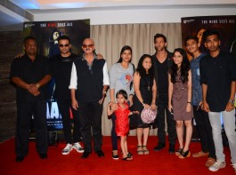 Bollywood actors Ronit Roy, Rohit Roy, Hrithik Roshan, Yami Gautam, Rakesh Roshan and filmmaker Sanjay Gupta during the meet and greet with fans for the film Kaabil in Mumbai on April 11, 2017.