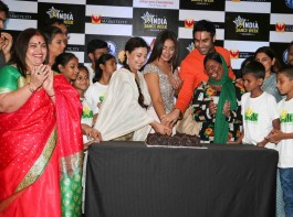 Bollywood choreographer Sandip Soparrkar, actors Sharbani Mukherjee and Neetu Chandra during the unveiling of India Dance week season 4 trophy, in Mumbai on April 12, 2017. 2017.
