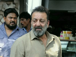 Bollywood actor Sanjay Dutt snapped shooting for 'Bhoomi' in Mumbai on April 24, 2017.